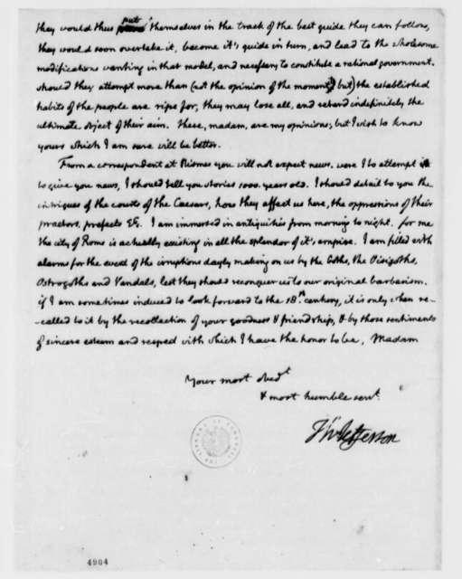 Thomas Jefferson to Madame Noailles de Tesse, March 20, 1787