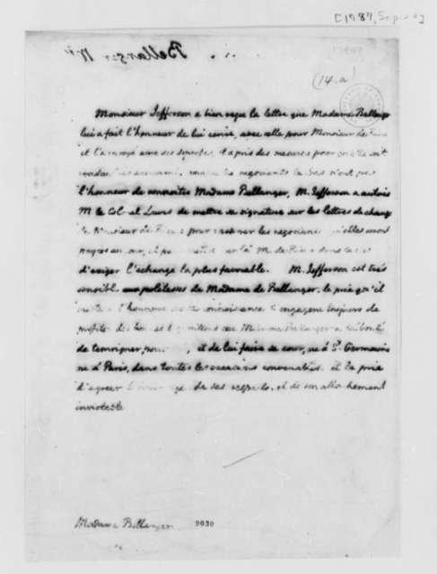 Thomas Jefferson to Madame Plumard de Bellanger, September 20, 1787