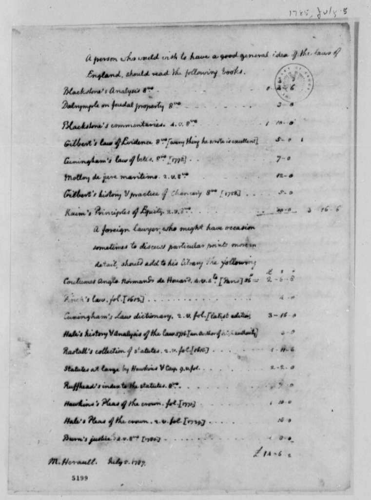 Thomas Jefferson to Marie J. Herault de Sechelles, July 5, 1787, Lists of Books on English and Foreign Law