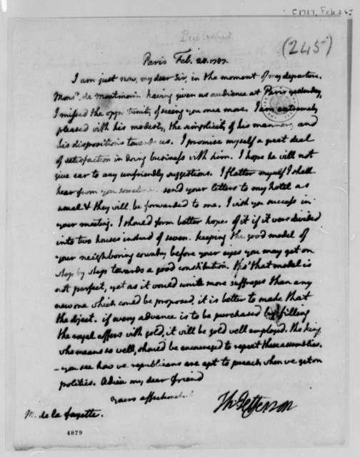 Thomas Jefferson to Marie Joseph Paul Yves Roch Gilbert du Motier, Marquis de Lafayette, February 28, 1787