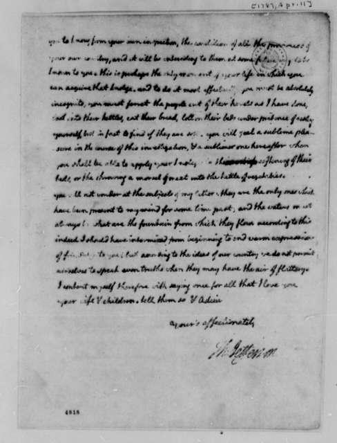 Thomas Jefferson to Marie Joseph Paul Yves Roch Gilbert du Motier, Marquis de Lafayette, April 11, 1787, (Beginning Pages Missing) Tour of Southern France