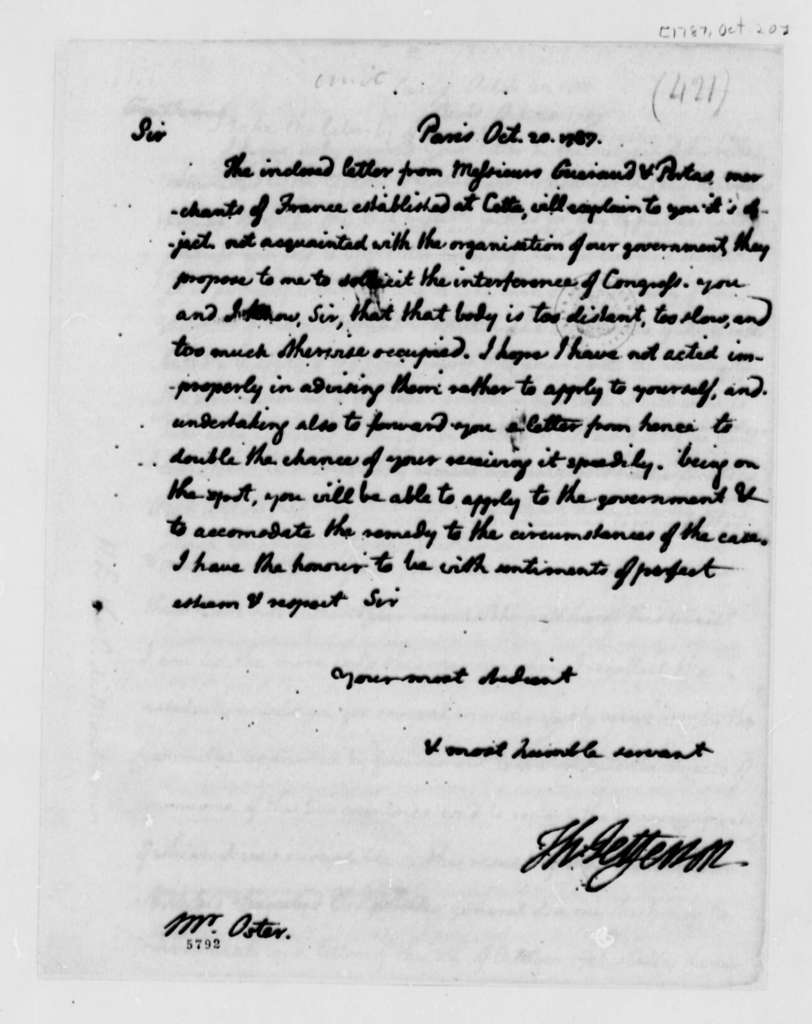 Thomas Jefferson to Martin Oster, October 20, 1787
