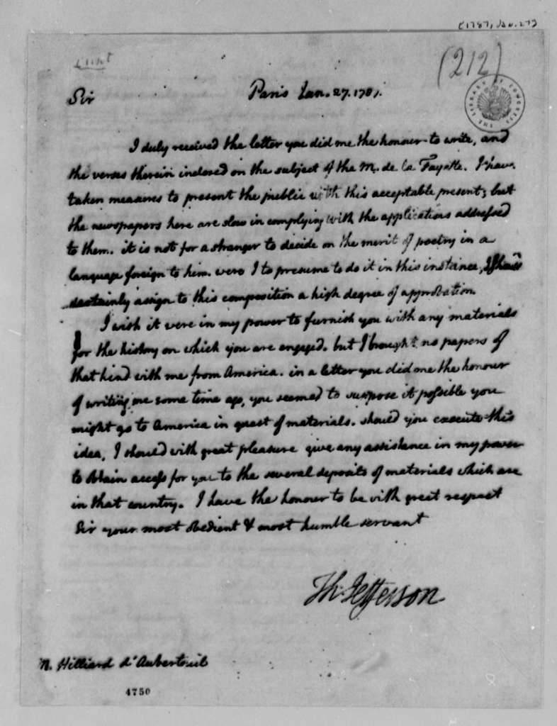 Thomas Jefferson to Michel R. Hilliard d'Auberteuil, January 27, 1787