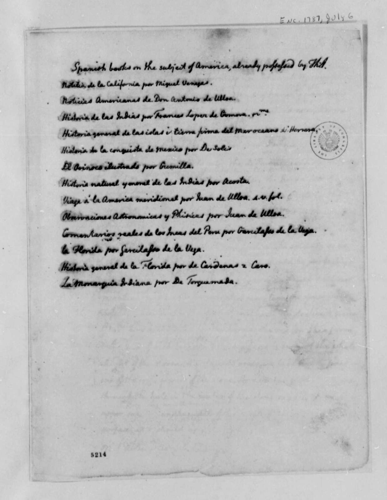 Thomas Jefferson to Miguel de Lardizabel y Uribe, July 6, 1787, with List of Jefferson's Collection of Spanish Books on America