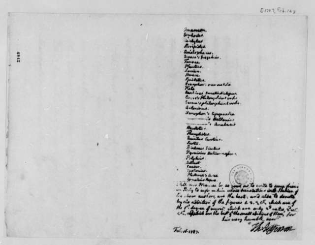 Thomas Jefferson to Philip Mazzei, February 16, 1787, Request for Information on Translations; with List of Authors