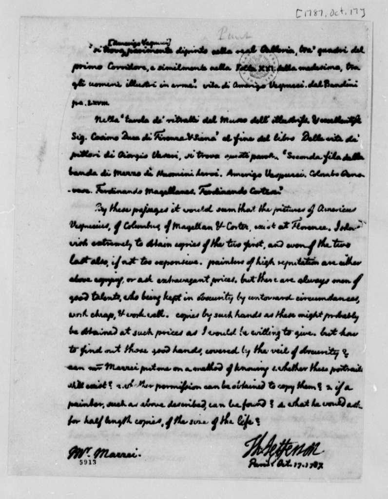 Thomas Jefferson to Philip Mazzei, October 17, 1787, with Copy