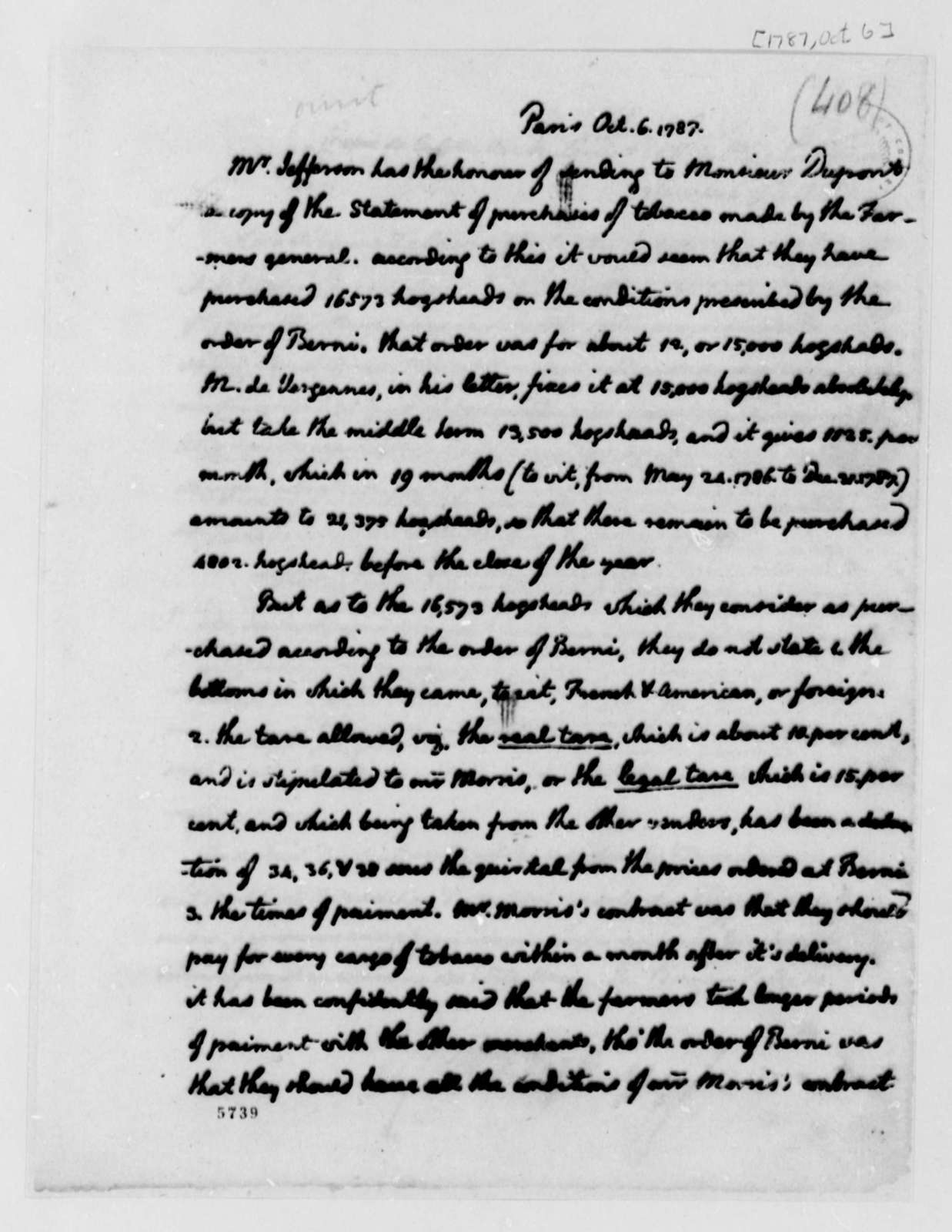 Thomas Jefferson to Pierre Samuel Dupont de Nemours, October 6, 1787