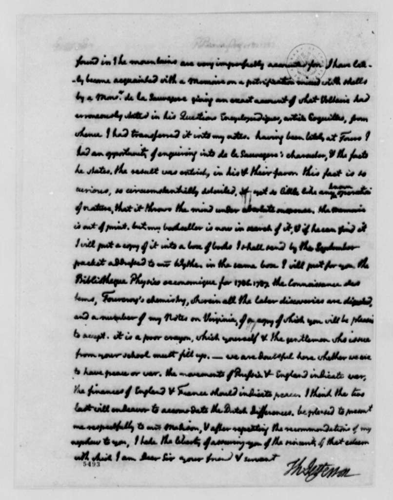Thomas Jefferson to Reverend James Madison, August 13, 1787