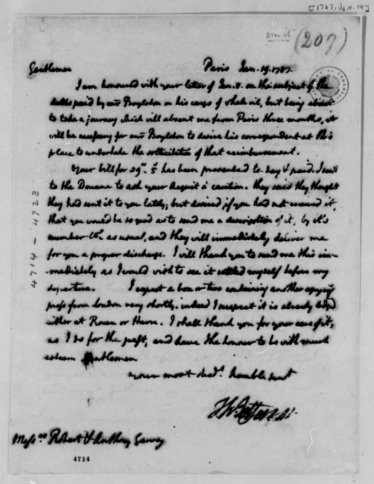 Thomas Jefferson to Robert and Anthony Garvey, January 19, 1787