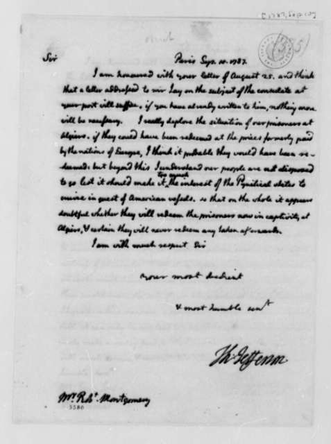 Thomas Jefferson to Robert Montgomery, September 10, 1787