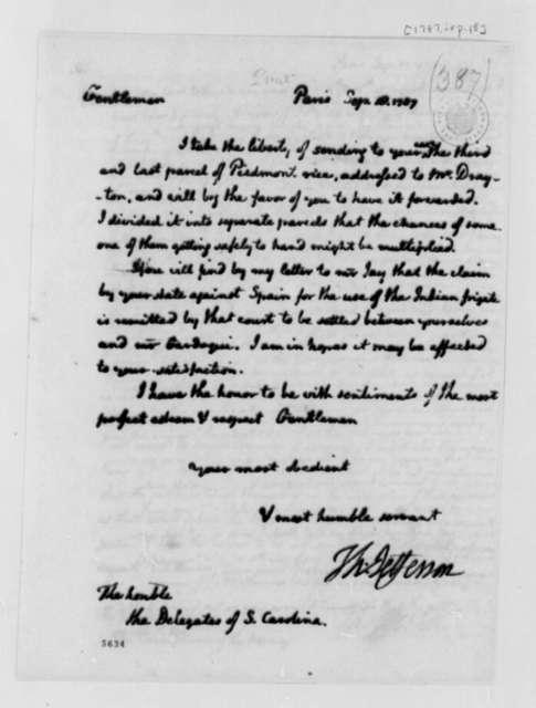 Thomas Jefferson to South Carolina Delegates in Congress, September 18, 1787