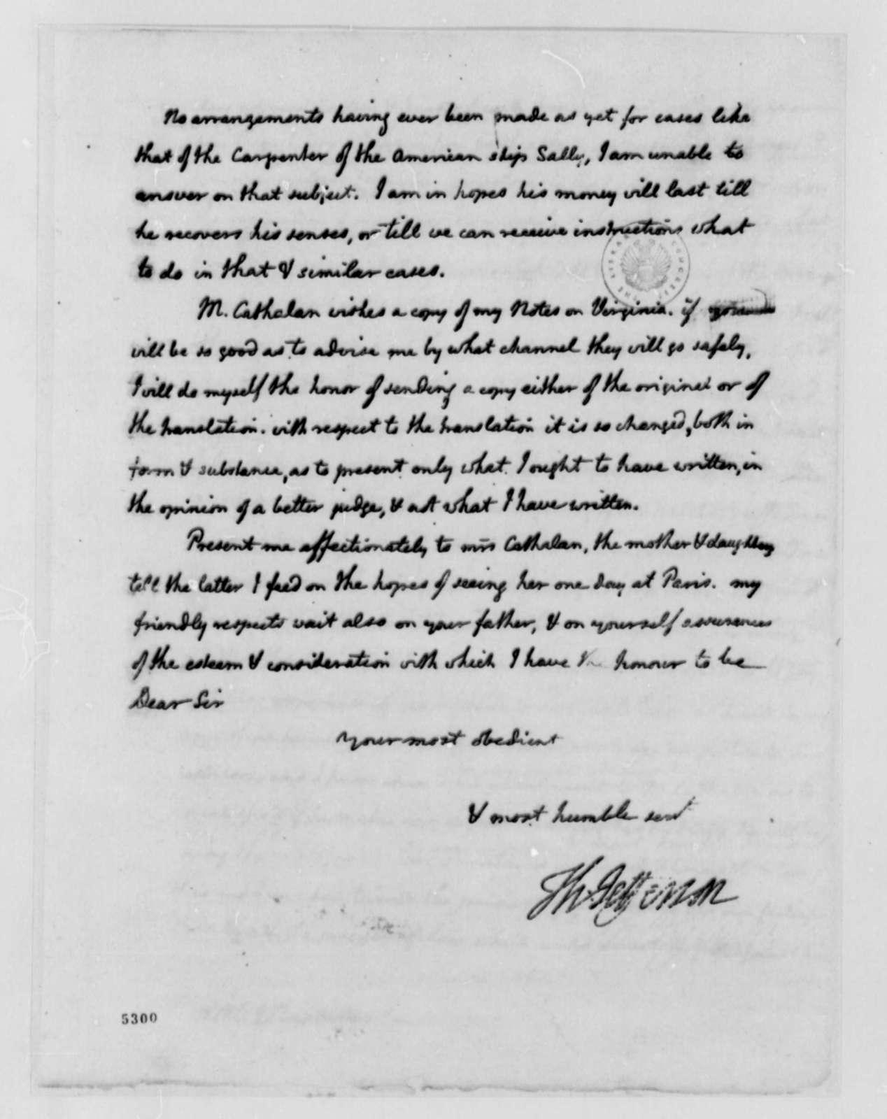 Thomas Jefferson to Stephen Cathalan Jr., July 21, 1787