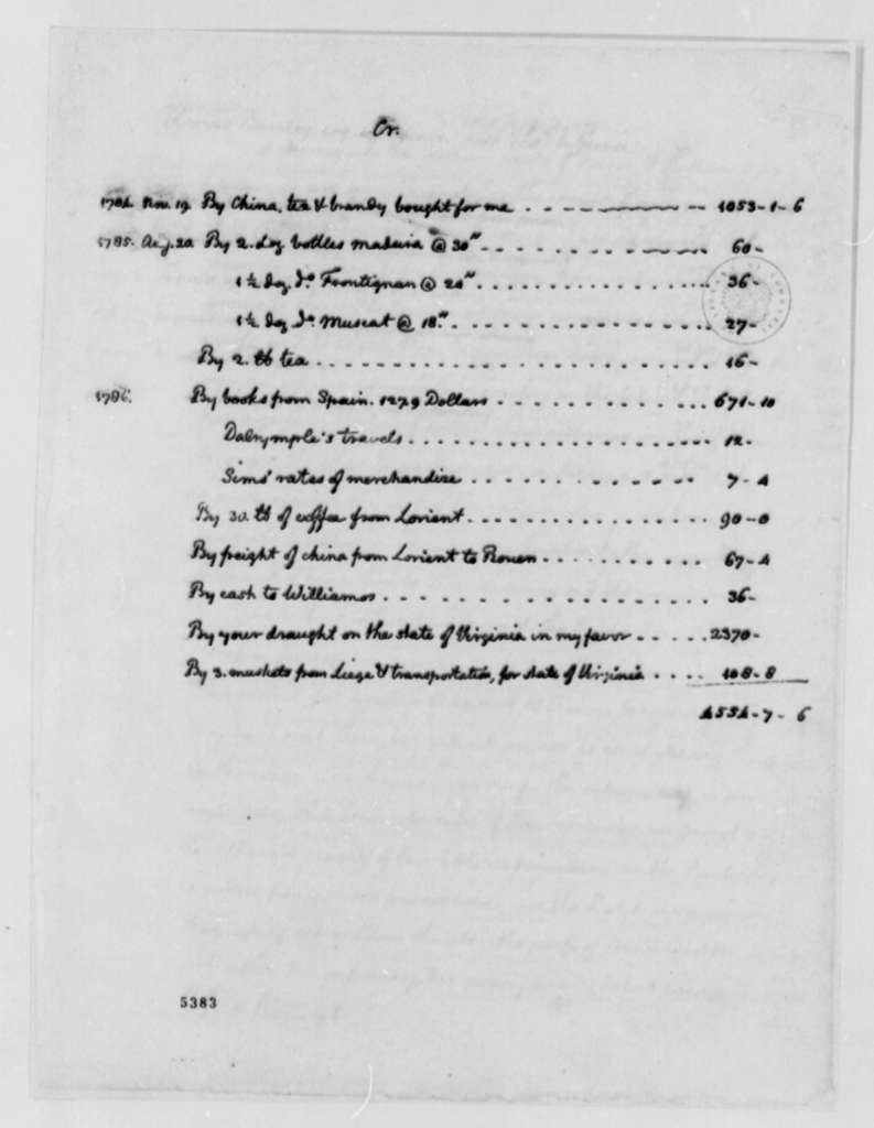 Thomas Jefferson to Thomas Barclay, August 3, 1787, Financial Statement