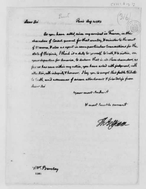 Thomas Jefferson to Thomas Barclay, August 3, 1787, Letter of Recommendation