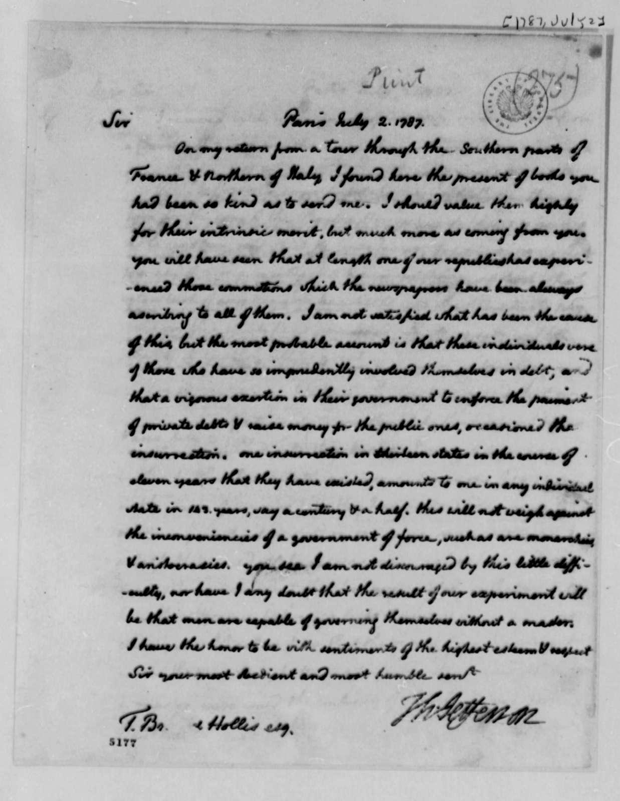 Thomas Jefferson to Thomas Brand Hollis, July 2, 1787