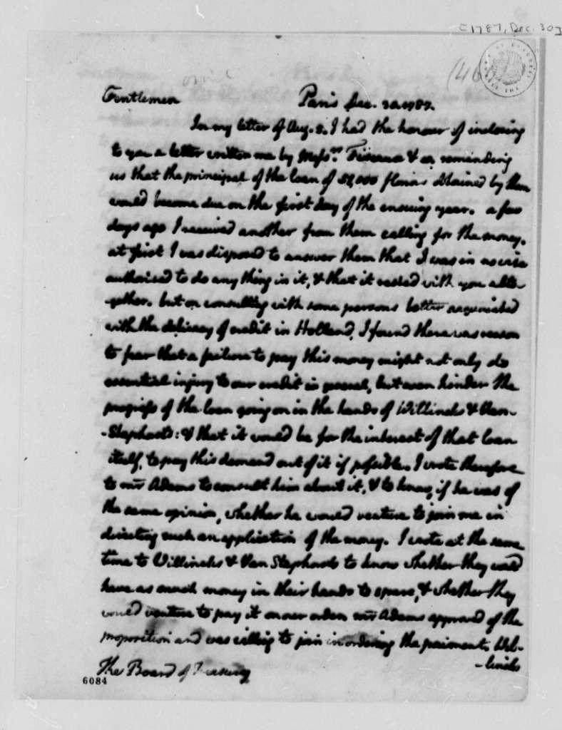 Thomas Jefferson to Treasury Board, December 30, 1787