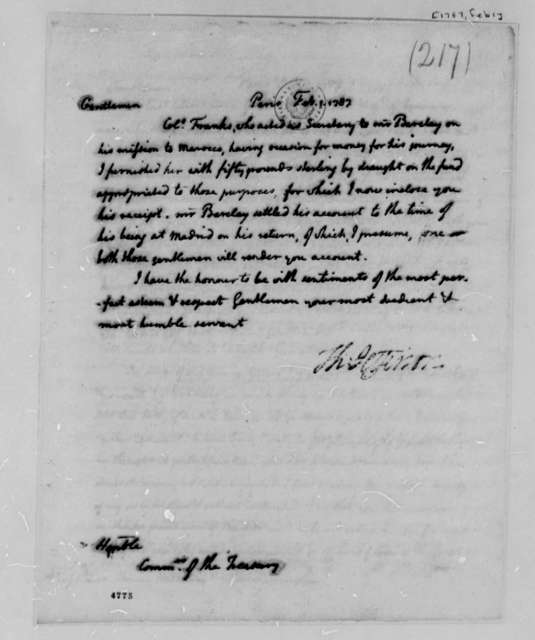 Thomas Jefferson to Treasury Commissioners, February 1, 1787