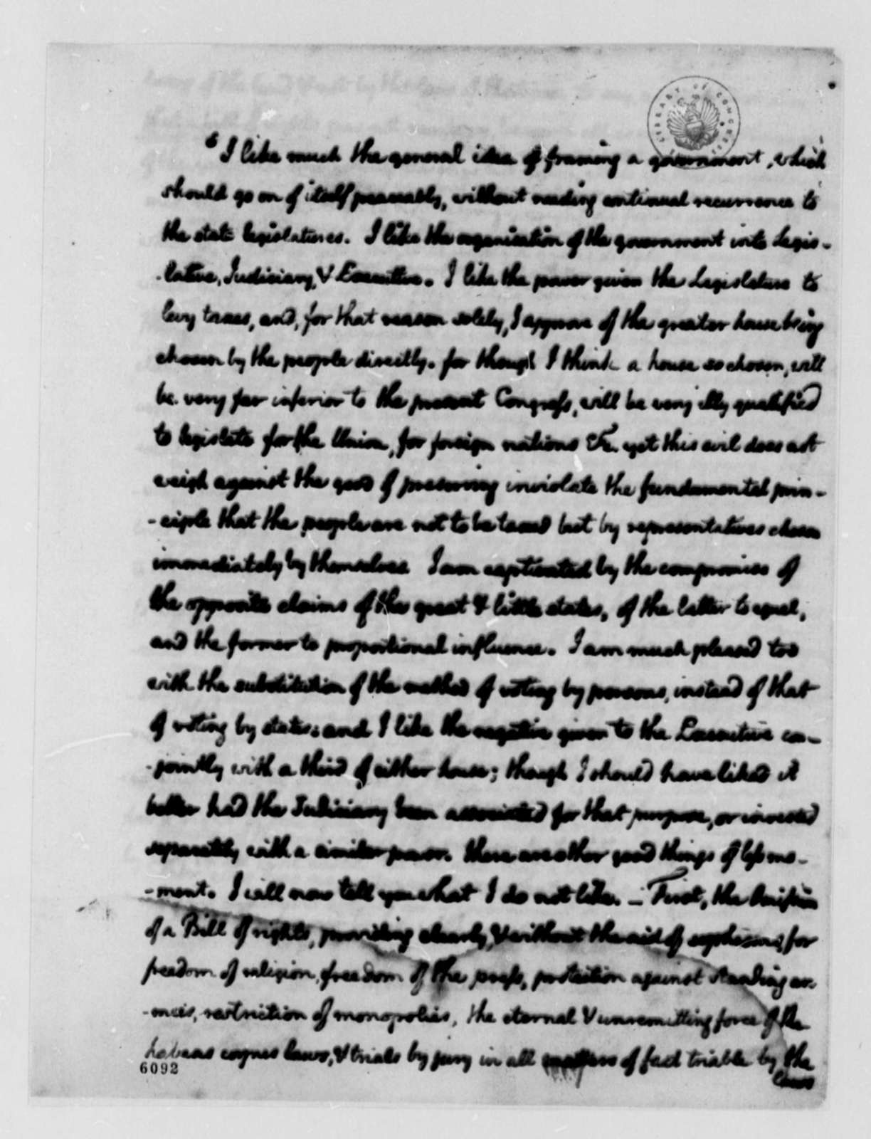Thomas Jefferson to Uriah Forrest, December 31, 1787, with Memorandum on Constitutional Convention, etc.; with Copy of Letter