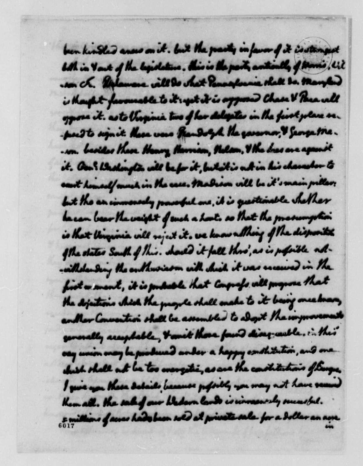 Thomas Jefferson to William Carmichael, December 15, 1787