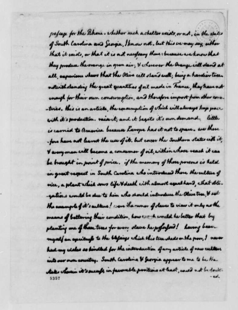 Thomas Jefferson to William Drayton, July 30, 1787, Agriculture; Rice, Capers, Olives, and Other Produce