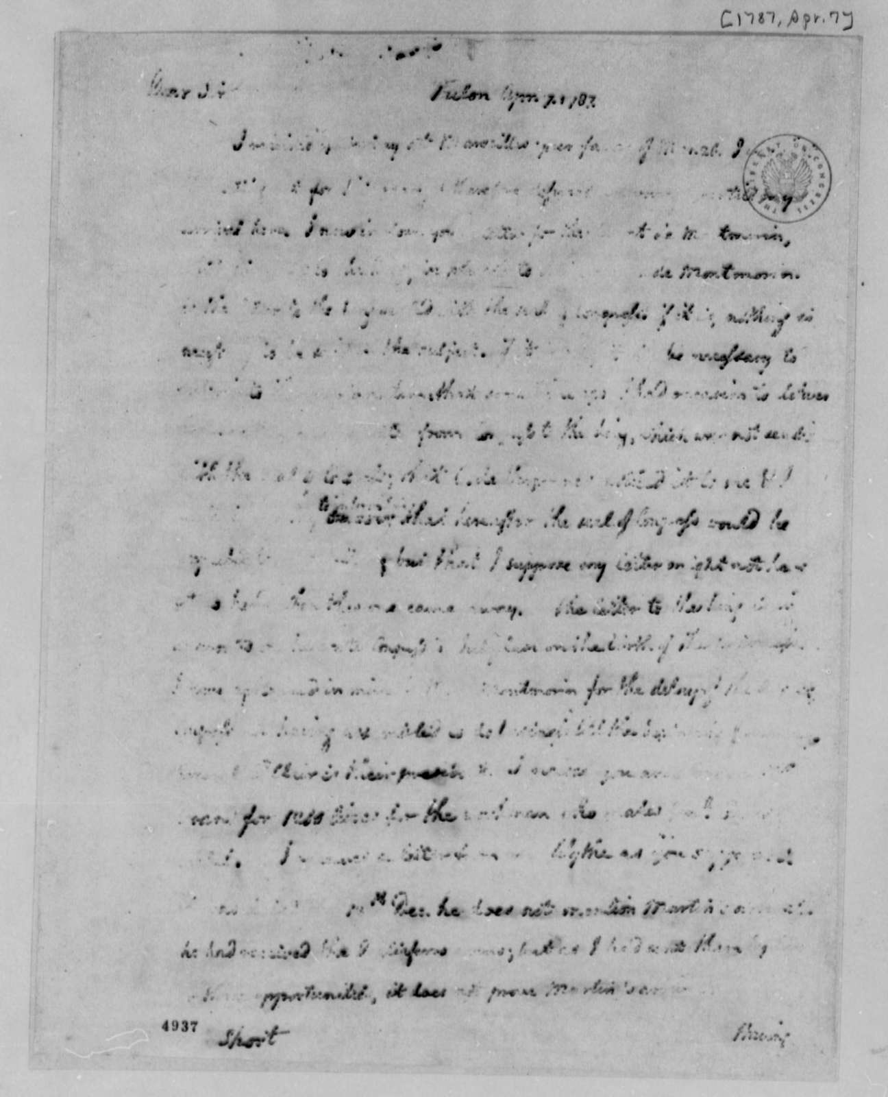 Thomas Jefferson to William Short, April 7, 1787, Seal on Letter to the King of France; Tour of Southern France