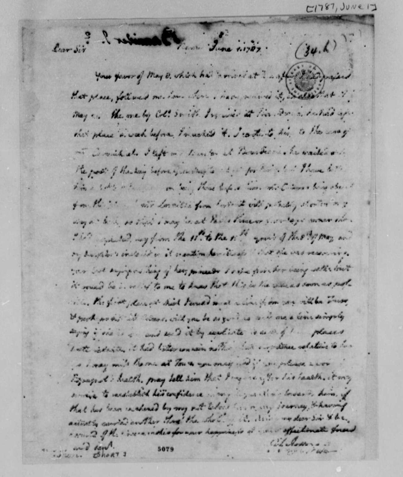 Thomas Jefferson to William Short, June 1, 1787
