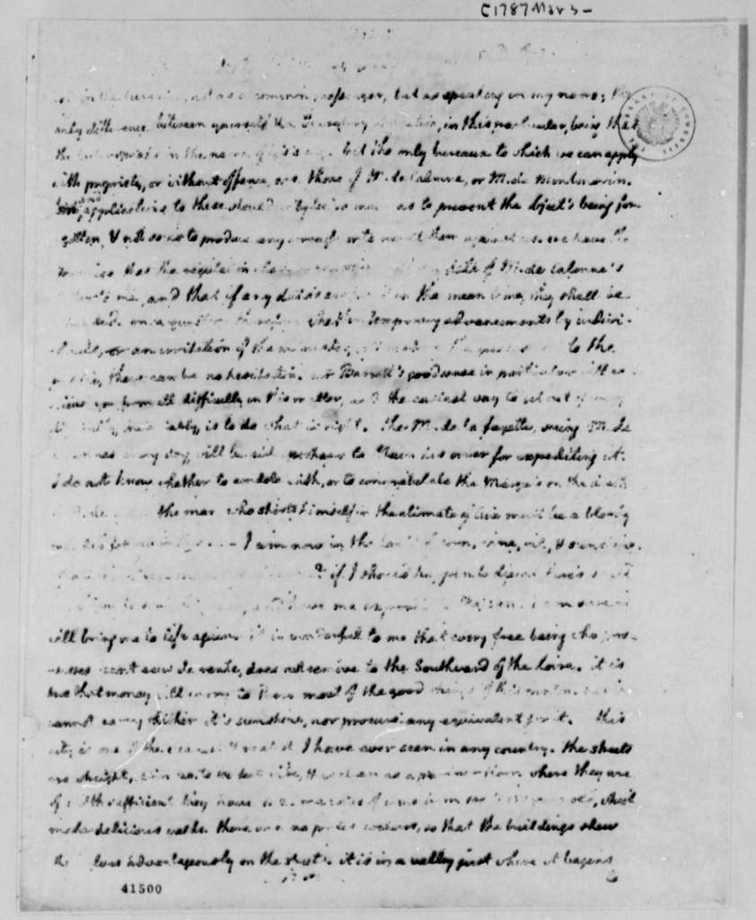 Thomas Jefferson to William Short, March 27, 1787, (Beginning Pages Missing) Description of Aix-en-Provence