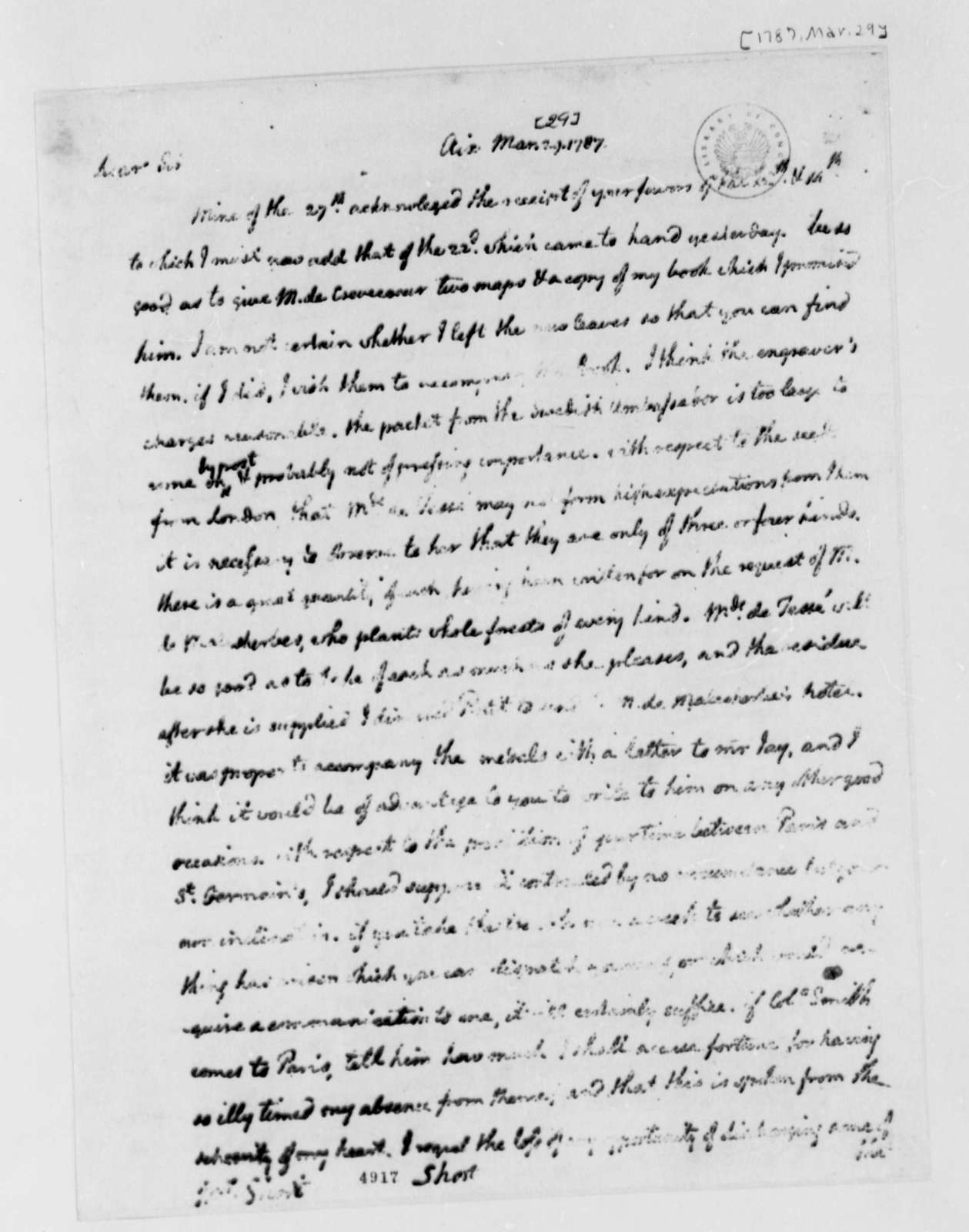 Thomas Jefferson to William Short, March 29, 1787