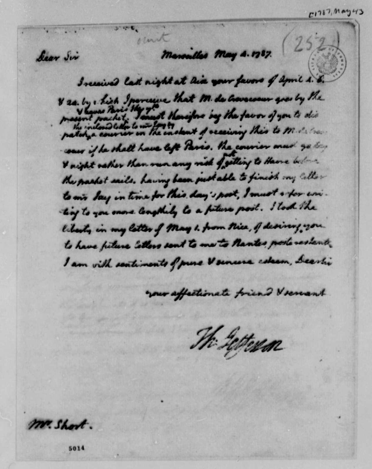 Thomas Jefferson to William Short, May 4, 1787