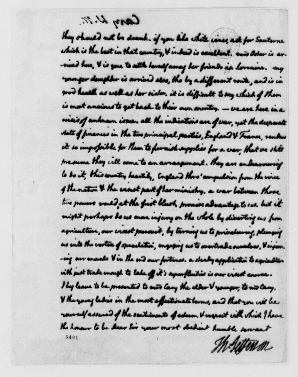 Thomas Jefferson to Wilson Miles Cary, August 12, 1787