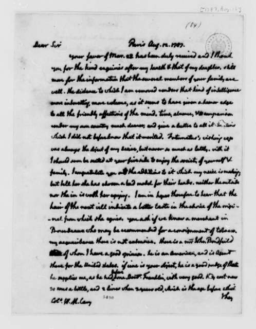 Thomas Jefferson to Wilson Miles Cary, August 12, 1787