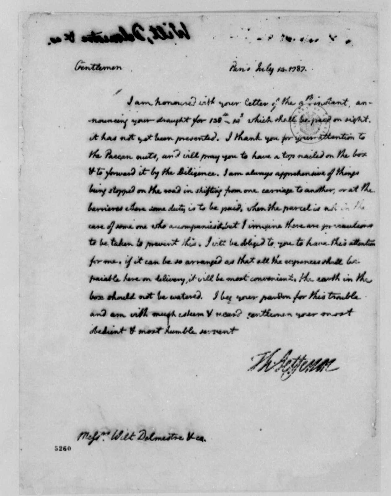 Thomas Jefferson to Wilt, Delmestre & Company, July 14, 1787