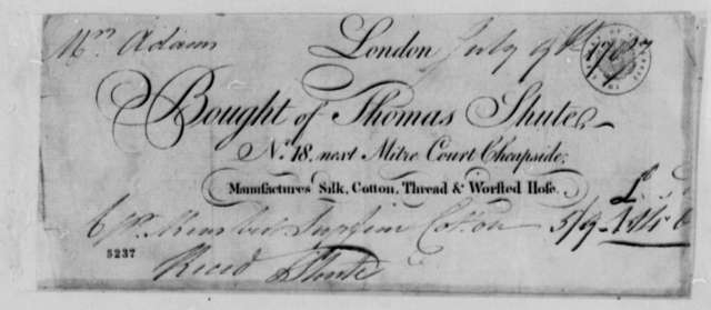 Thomas Shute to Abigail Smith Adams, July 9, 1787, Receipt for Drygoods