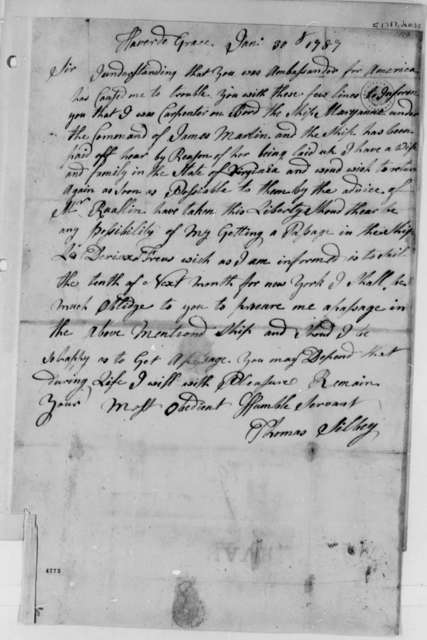 Thomas Silbey to Thomas Jefferson, January 30, 1787