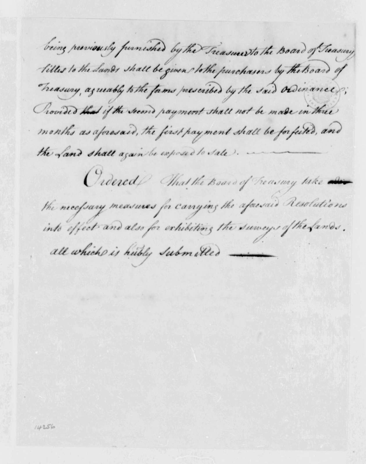 Treasury Board, April 4, 1787, Public Securities