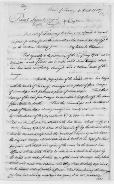 Treasury Board, April 4, 1787, Public Securities