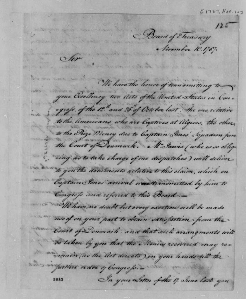 Treasury Board to Thomas Jefferson, November 10, 1787