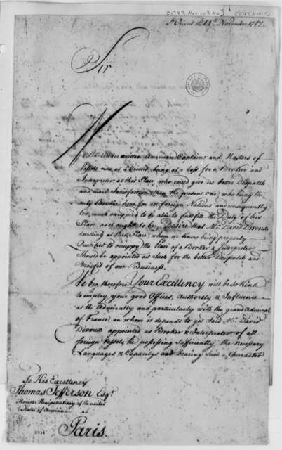 United States Captains and Masters of Vessels at L'Orient, November 14, 1787, Petition for Appointment of J. David Divoux as Interpreter and Broker for Foreign Vessels at Port of L'Orient