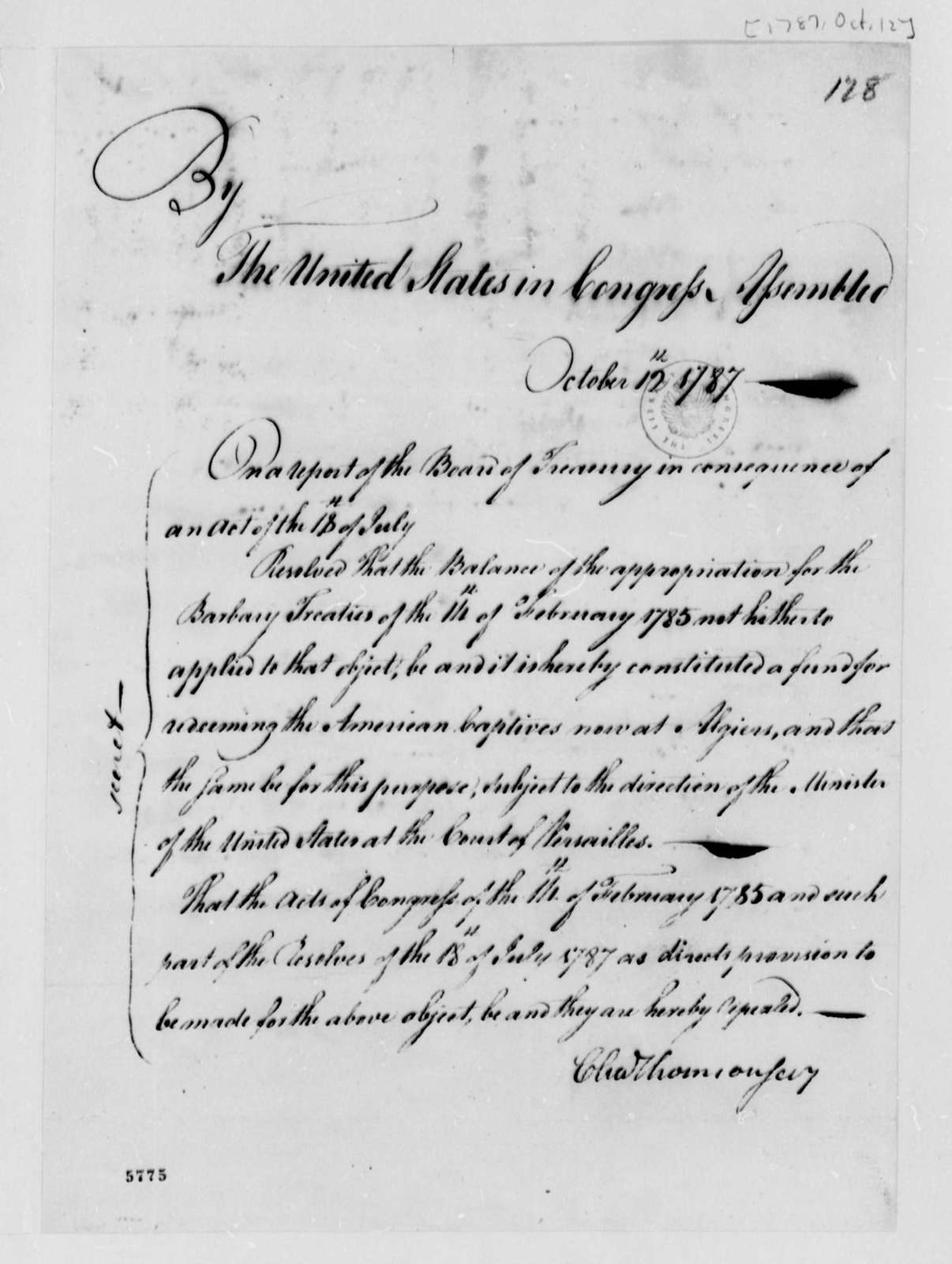 United States Congress, October 12, 1787, Resolution on American Captives in Algiers