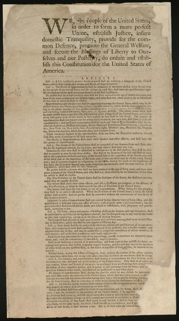 We the people of the United States, in order to form a more perfect union, establish justice, insure domestic tranquility, provide for the common defence, promote the general welfare, and secure the blessings of liberty to ourselves and our posterity, do ordain and establish this constitution for the United States of America.