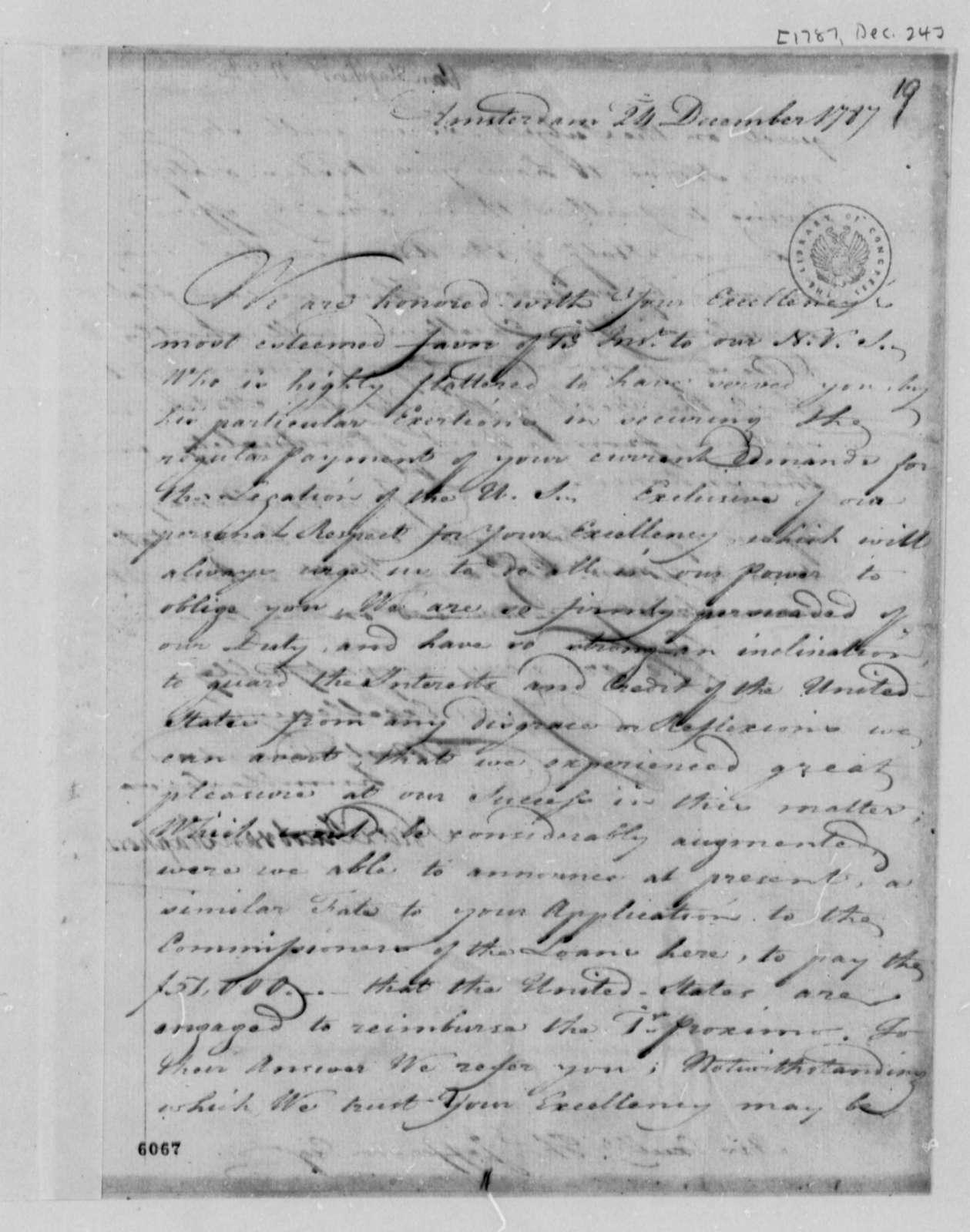 Wilhelm Willink, et al to Thomas Jefferson, December 24, 1787, with Copy
