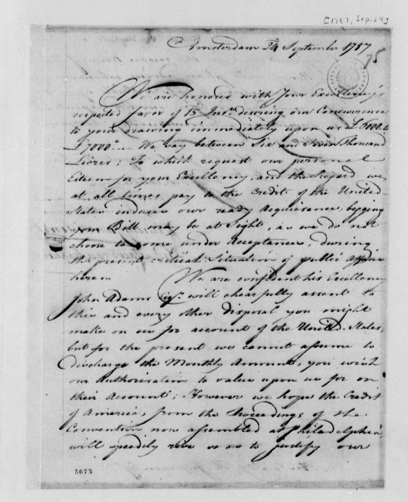 Wilhelm Willink, et al to Thomas Jefferson, September 24, 1787