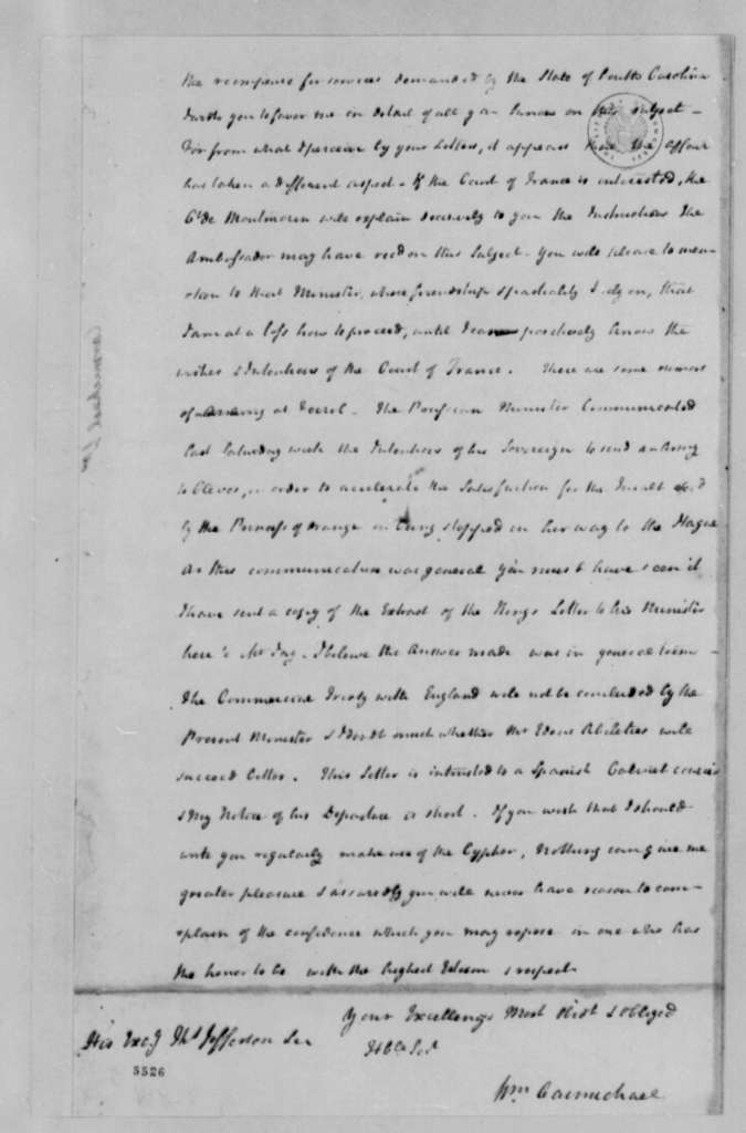 William Carmichael to Thomas Jefferson, August 22, 1787