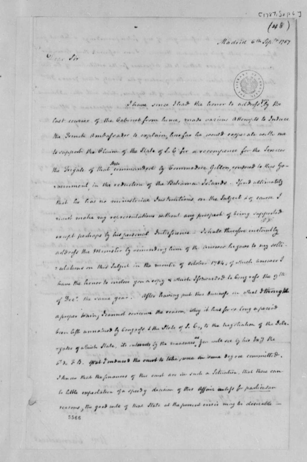 William Carmichael to Thomas Jefferson, September 6, 1787
