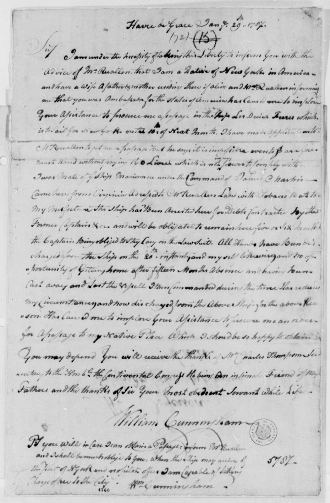 William Cunningham to Thomas Jefferson, January 29, 1787