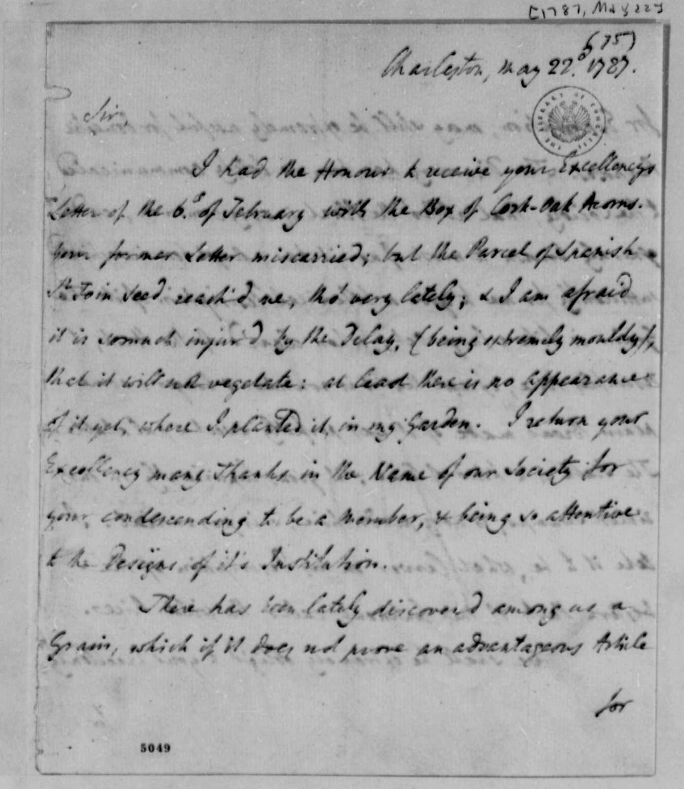 William Drayton to Thomas Jefferson, May 22, 1787