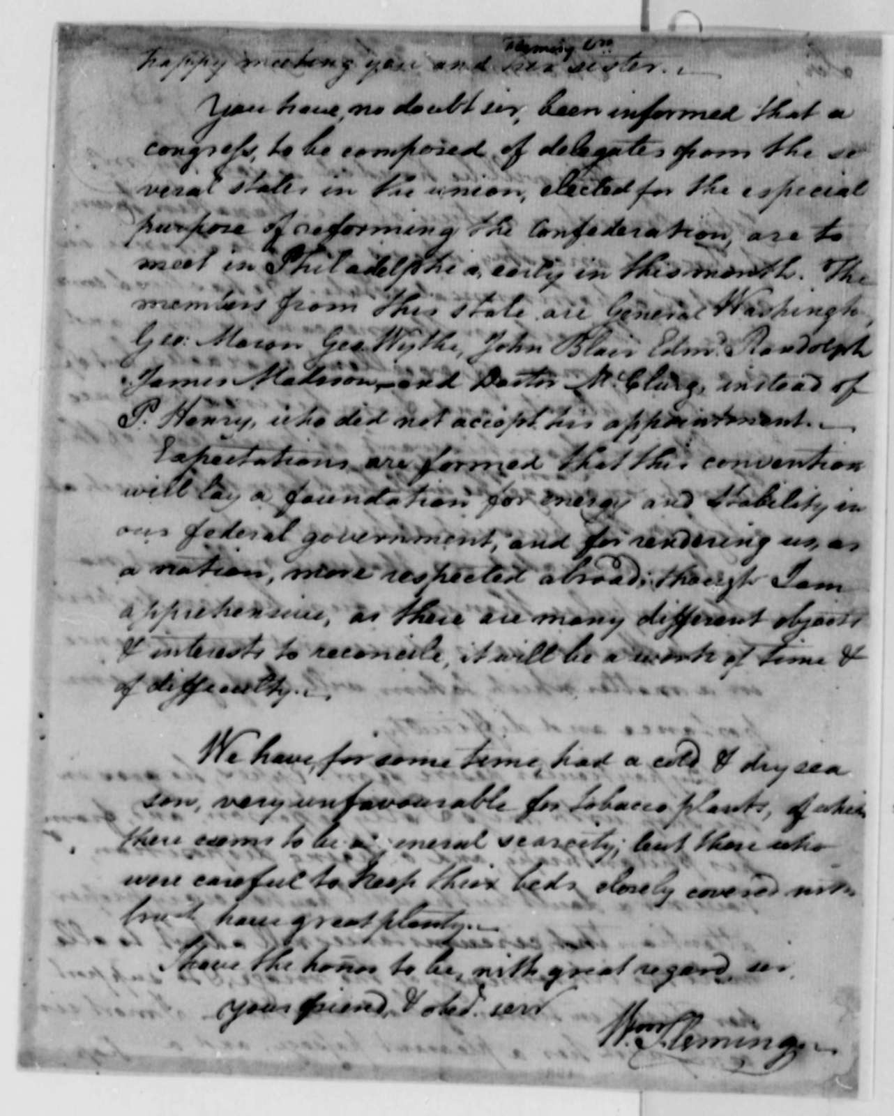 William Fleming to Thomas Jefferson, May 2, 1787, Enclosed with John Ammonet Letter of May 10, 1787