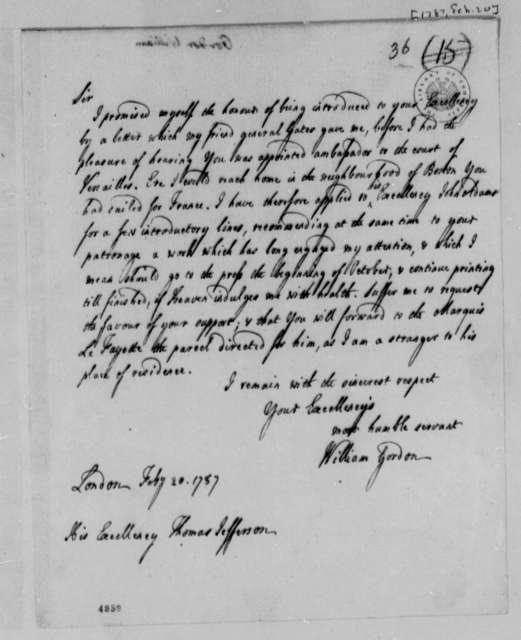 William Gordon to Thomas Jefferson, February 20, 1787