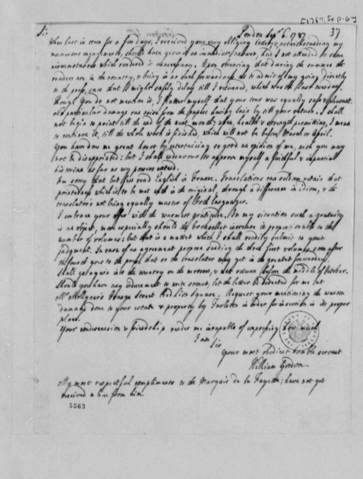 William Gordon to Thomas Jefferson, September 6, 1787