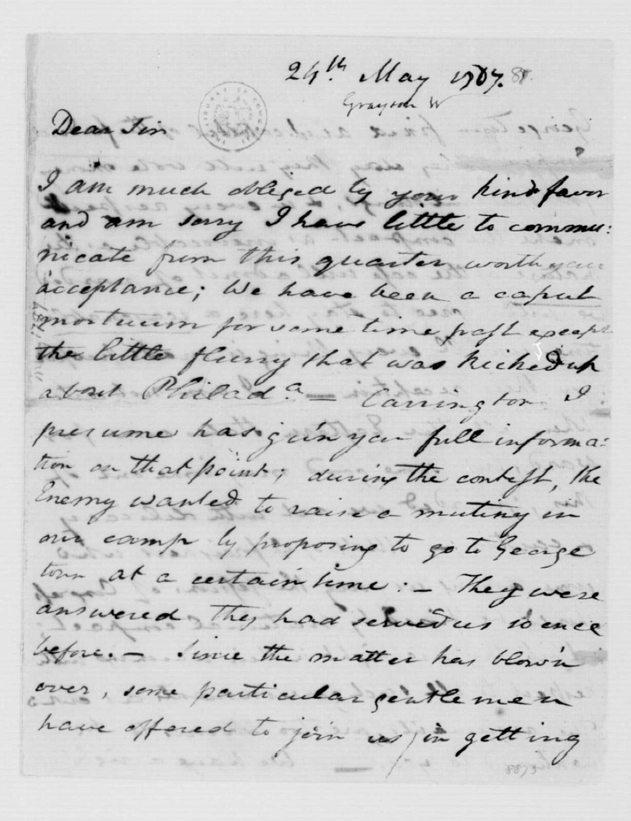 William Grayson to James Madison, May 24, 1787.